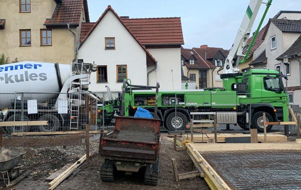 Betonarbeiten mit Betonpumpe