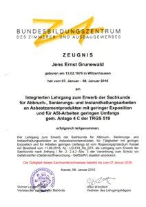 Zertifikat Asbestentsorgung